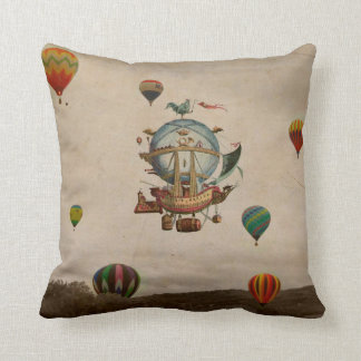 Hot Air Balloon, La Minerve 1803  travel in style Throw Pillows