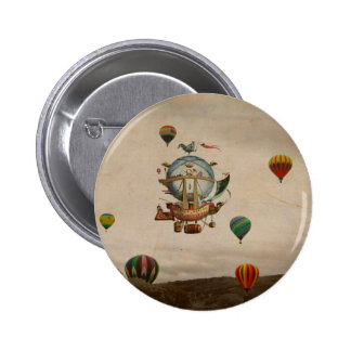 Hot Air Balloon, La Minerve 1803  travel in style Pinback Button