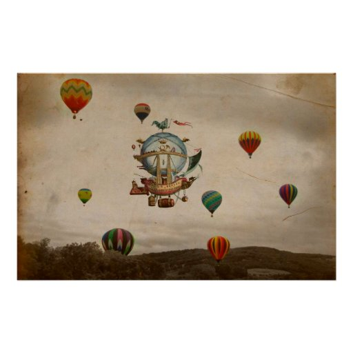Hot Air Balloon, La Minerve 1803  travel in style Poster