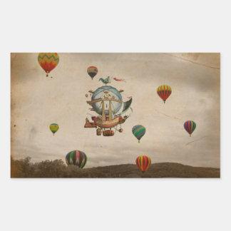 Hot Air Balloon, La Minerve 1803  travel in style Rectangular Sticker