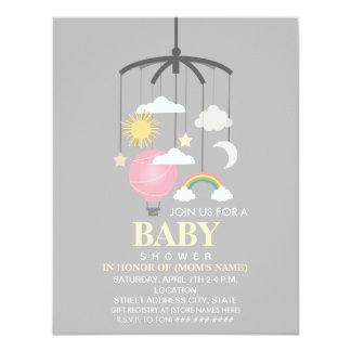 Hot Air Balloon Mobile Girl Modern Baby Shower Card
