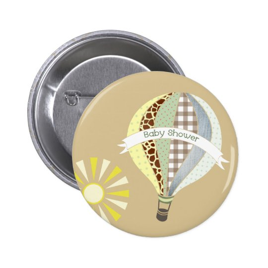 Hot Air Balloon Neutral Baby Shower Button