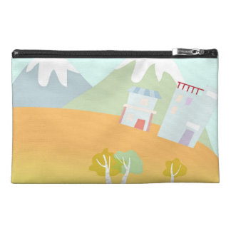 Hot air balloon on pastel blue background. travel accessory bag