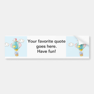 Hot air balloon on pastel blue background. bumper sticker