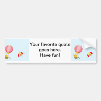 Hot air balloon on pastel blue background. bumper stickers