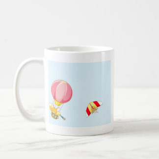 Hot air balloon on pastel blue background. coffee mug