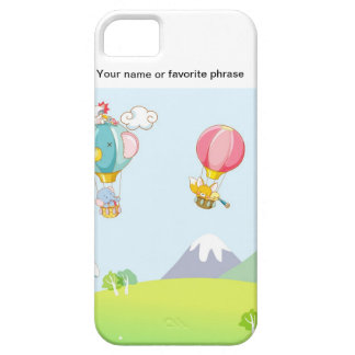Hot air balloon on pastel blue background. iPhone SE/5/5s case