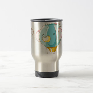 Hot air balloon on pastel blue background mugs