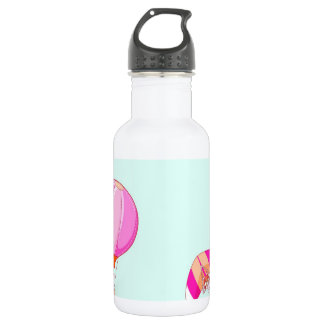 Hot air balloon on pastel blue background. 18oz water bottle
