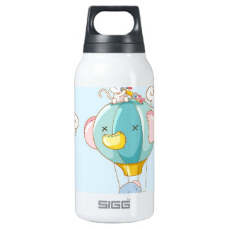 Hot air balloon on pastel blue background. SIGG thermo 0.3L insulated bottle