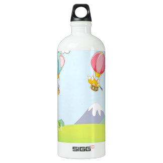 Hot air balloon on pastel blue background. SIGG traveler 1.0L water bottle