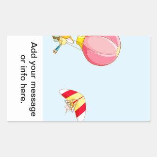Hot air balloon on pastel blue background. rectangular sticker