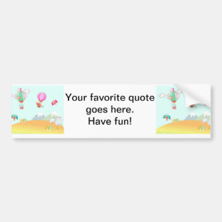 Hot air balloon on pastel color background. bumper sticker