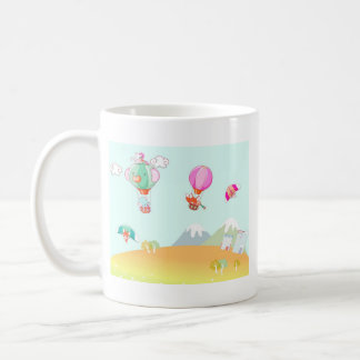 Hot air balloon on pastel color background. coffee mug