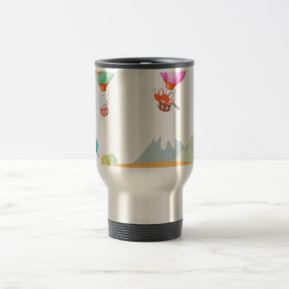 Hot air balloon on pastel color background coffee mugs