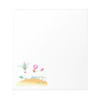 Hot air balloon on pastel color background. note pad
