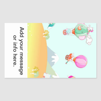 Hot air balloon on pastel color background. rectangular sticker