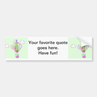 Hot air balloon on pastel gree bumper sticker