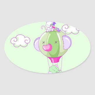 Hot air balloon on pastel gree oval sticker