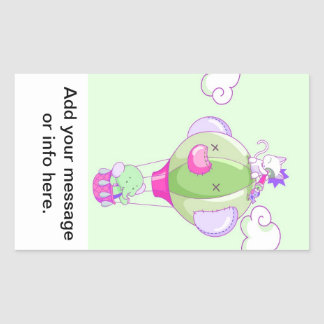 Hot air balloon on pastel gree rectangular sticker