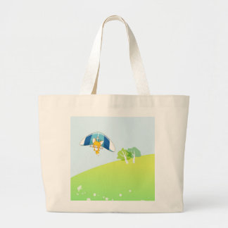 Hot air balloon on pastel green and blue. bag