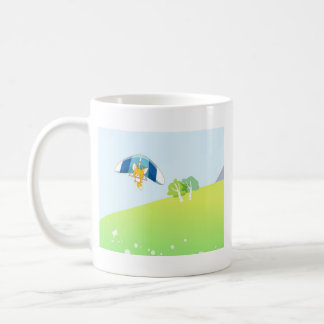 Hot air balloon on pastel green and blue. coffee mug