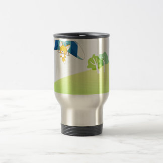 Hot air balloon on pastel green and blue coffee mugs