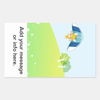 Hot air balloon on pastel green and blue. rectangular sticker