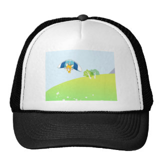 Hot air balloon on pastel green and blue. trucker hat