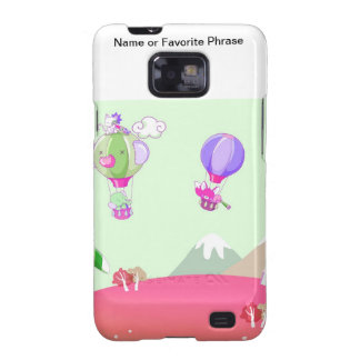 Hot air balloon on pastel green background. samsung galaxy s2 cases