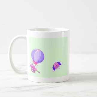 Hot air balloon on pastel green background. coffee mug