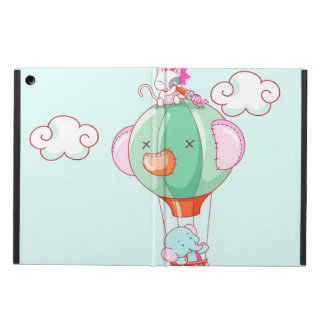 Hot air balloon on pastel green background. iPad air case
