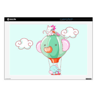 "Hot air balloon on pastel green background. 17"" laptop skin"