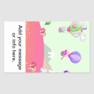 Hot air balloon on pastel green background. rectangular sticker