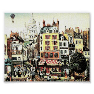 Hot Air Balloon over city  antique Poster
