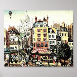 Hot Air Balloon over city  antique Poster