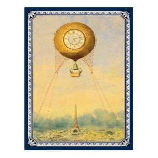 Hot Air Balloon over Paris Painting Postcard