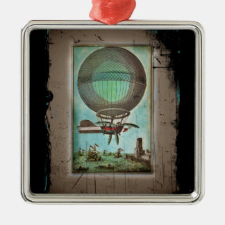 Hot Air Balloon Over the Harbor Metal Ornament