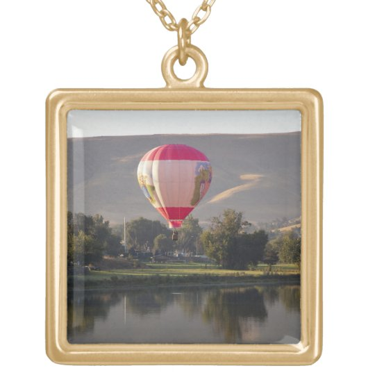 Hot air balloon over the Yakima River Gold Plated Necklace