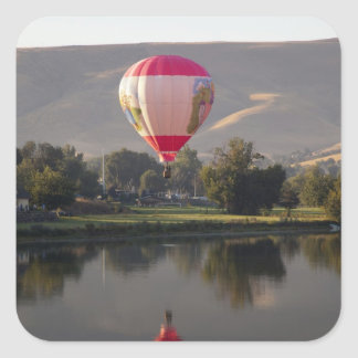 Hot air balloon over the Yakima River Square Sticker