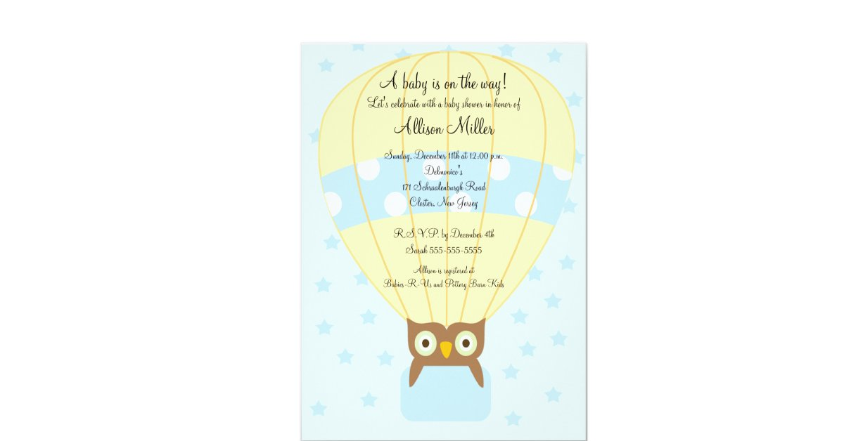 hot air balloon owl boy baby shower 5x7 paper invitation card zazzle