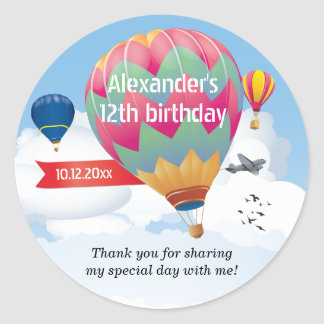 Hot Air Balloon Party Classic Round Sticker