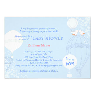 Hot Air Balloon Pastel Blue It's A Boy Baby Shower Invite