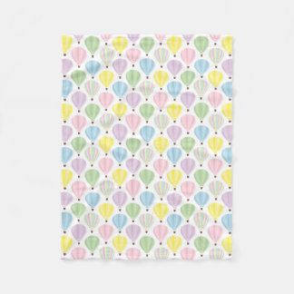 Hot Air Balloon Pastel Pattern Fleece Blanket