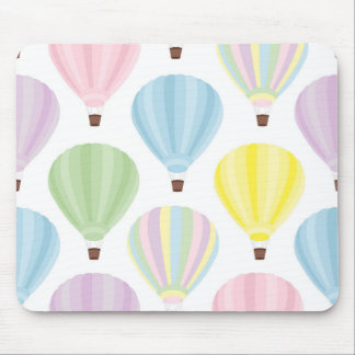 Hot Air Balloon Pastel Pattern Mouse Pad