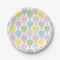 Hot Air Balloon Pastel Pattern Paper Plate