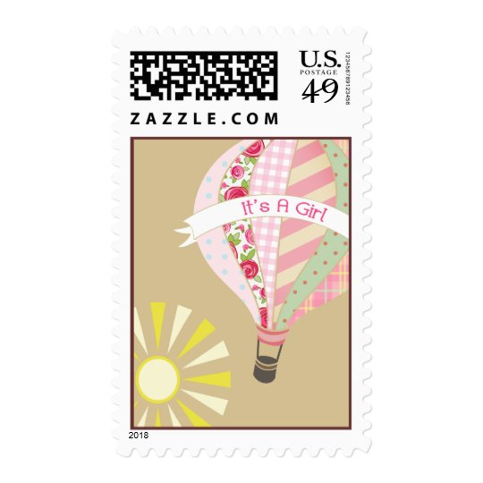 Hot Air Balloon Pink Baby Shower Postage
