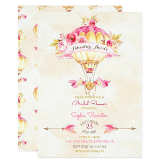 Hot Air Balloon Pink Gold Yellow Arrows Roses Card