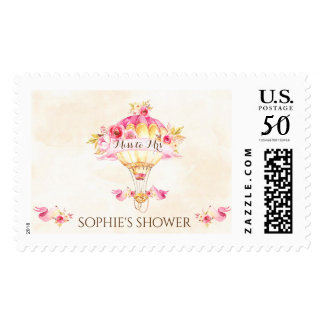 Hot Air Balloon Pink Gold Yellow Roses Postage