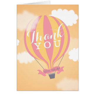 Hot Air Balloon Pink Yellow Thank You Note Card